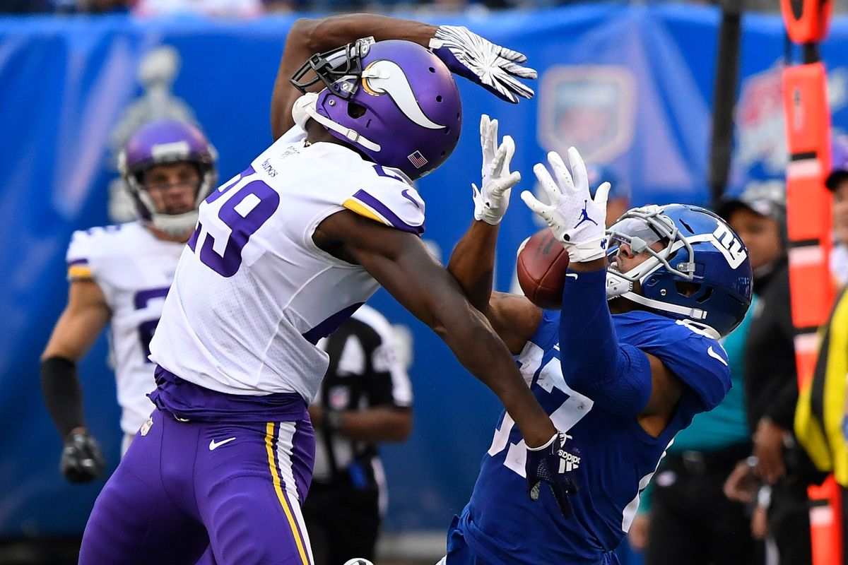 Minnesota Vikings cornerback Xavier Rhodes breaks up a pass intended for New York Giants wide receiver Sterling Shepard in the second half at MetLife Stadium.