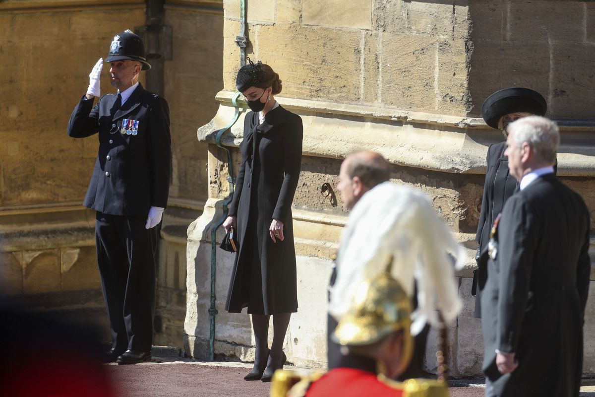 Kate, the Duchess of Cambridge, bows her head, at the Galilee Porch of St George's Chapel, at Windsor Castle, Windsor, England, on Saturday, during the funeral of Britain's Prince Philip.