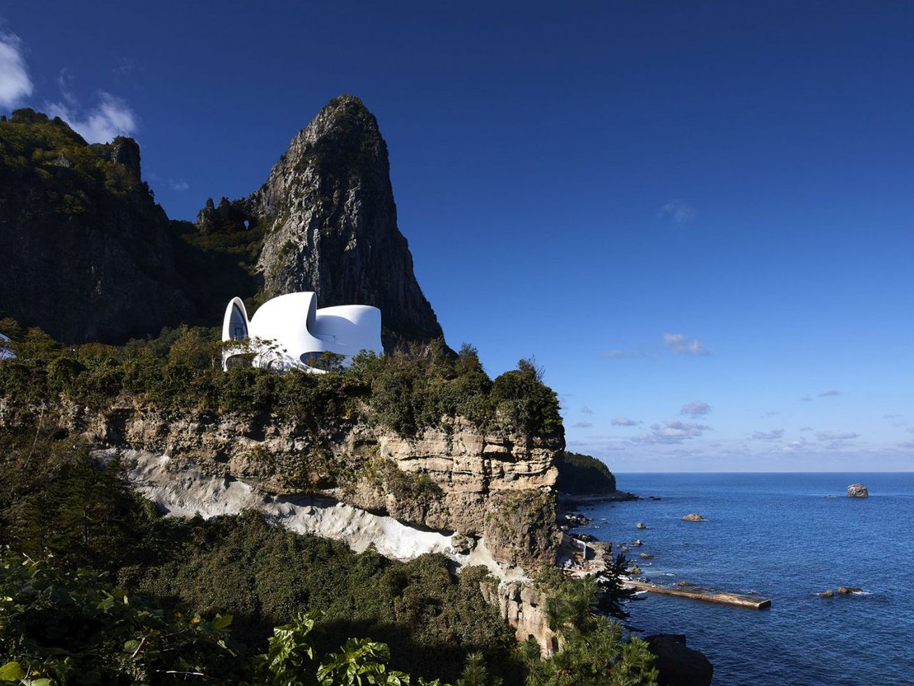 The Villa Kosmos sits on the edge of a cliff on South Korea's Ulleungdo island.