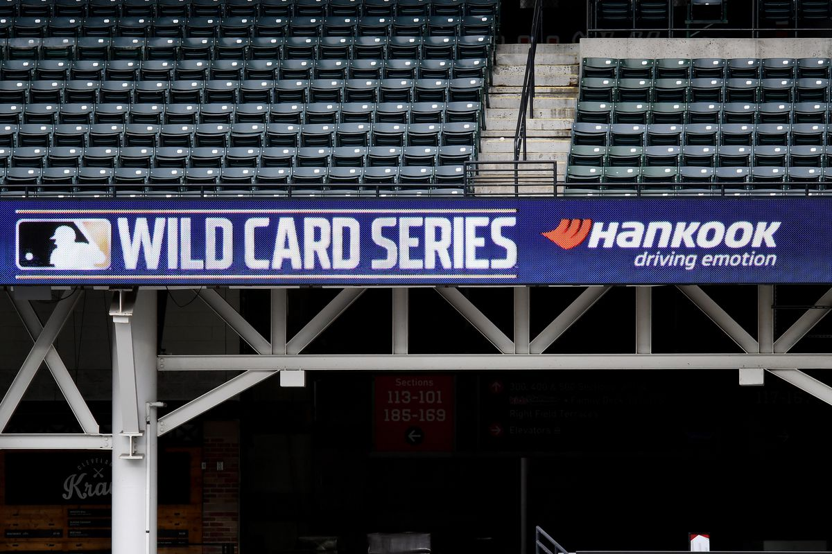 A general view of the 2020 Wild Card Series logo on the LED scoreboard during batting practice prior to Game 1 of the Wild Card Series between the New York Yankees and the Cleveland Indians at Progressive Field on Tuesday, September 29, 2020 in Cleveland, Ohio.