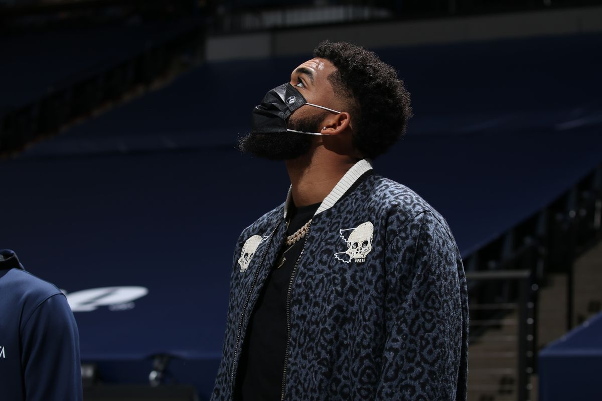 Karl-Anthony Towns of the Minnesota Timberwolves looks on during the game against the Denver Nuggets on January 3, 2021 at Target Center in Minneapolis, Minnesota.