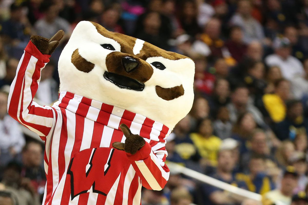 """Mar 12, 2017; Washington, DC, USA; The Wisconsin Badgers mascot """"Bucky Badger"""" dances on the court during a stoppage in play against the Michigan Wolverines in the first half during the Big Ten Conference Tournament championship game at Verizon Center. The Wolverines won 71-56. Mandatory Credit: Amber Searls-USA TODAY Sports"""