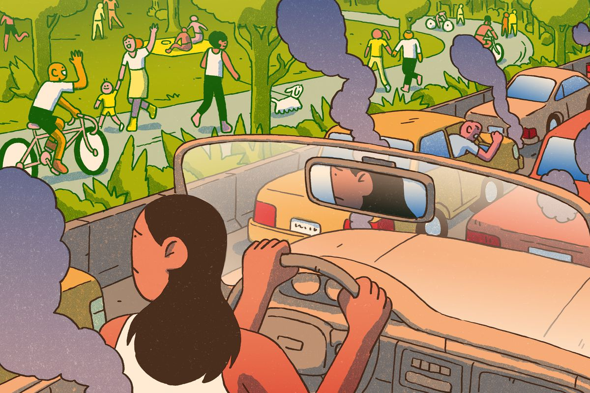 A woman driving a convertible stuck in bumper-to-bumper traffic. Steam and smoke waft around her vehicle. She stares longingly at people enjoying the fresh air and park to her left. Illustration.