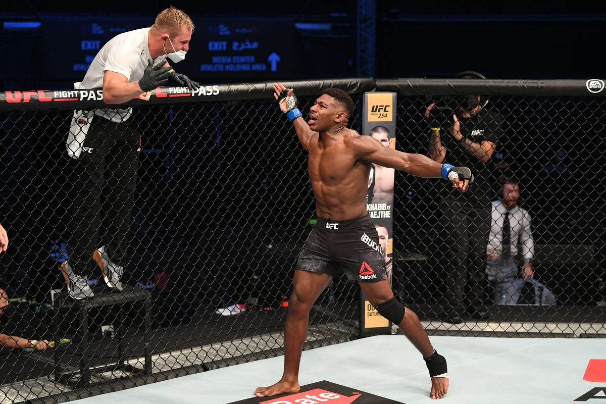 Joaquin Buckley celebrates his KO victory over Impa Kasanganay in their middleweight bout during the UFC Fight Night event inside Flash Forum on UFC Fight Island on October 11, 2020 in Abu Dhabi, United Arab Emirates.