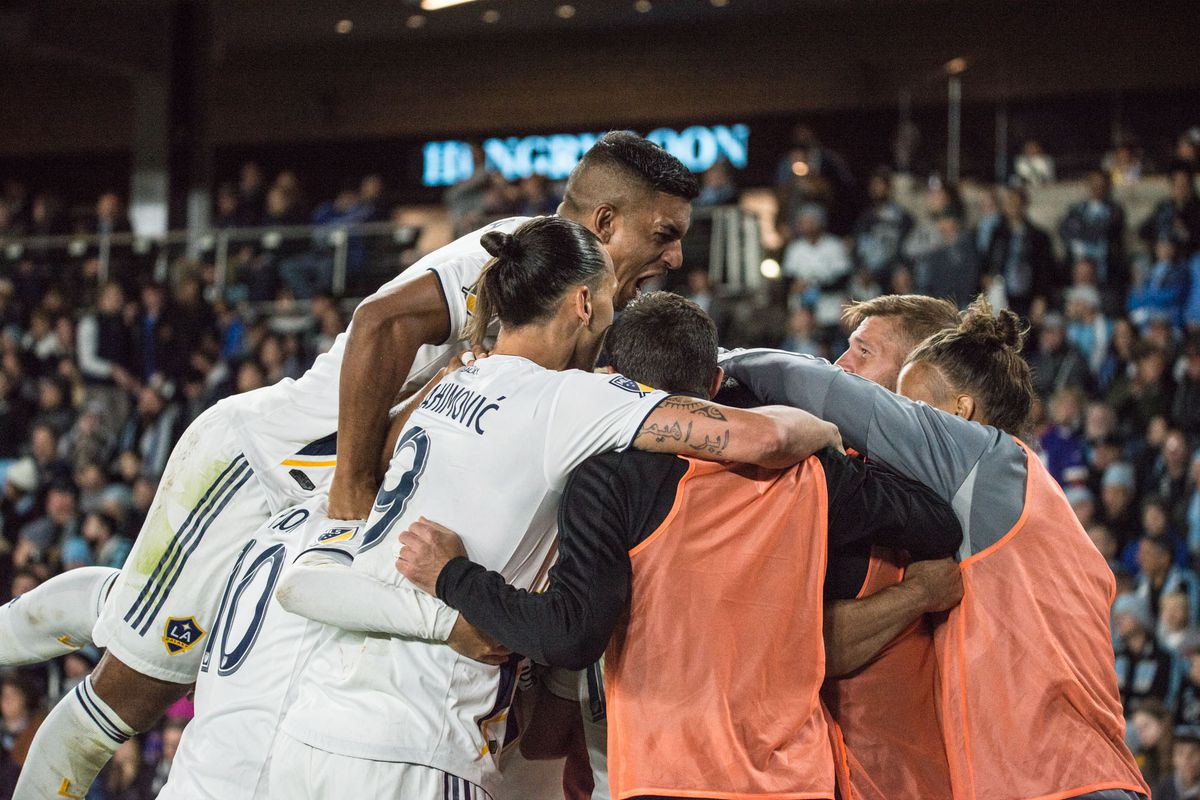 October 20, 2019 - Saint Paul, Minnesota, United States- Galaxy players celebrate a goal during an Audi MLS Cup Playoff match between Minnesota United and The Los Angeles Galaxy at Allianz Field (Photo: Tim C McLaughlin)