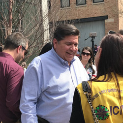 Candidate for Illinois governor J.B. Pritzker attends a May Day rally Tuesday, May 1 at the Haymarket Memorial on the Near West Side.   Matthew Hendrickson/Sun-Times