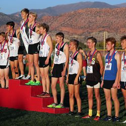 Individual winners in the 4A state boys high school cross-country championship pose for a photo in Cedar City on Wednesday, Oct. 21, 2020.