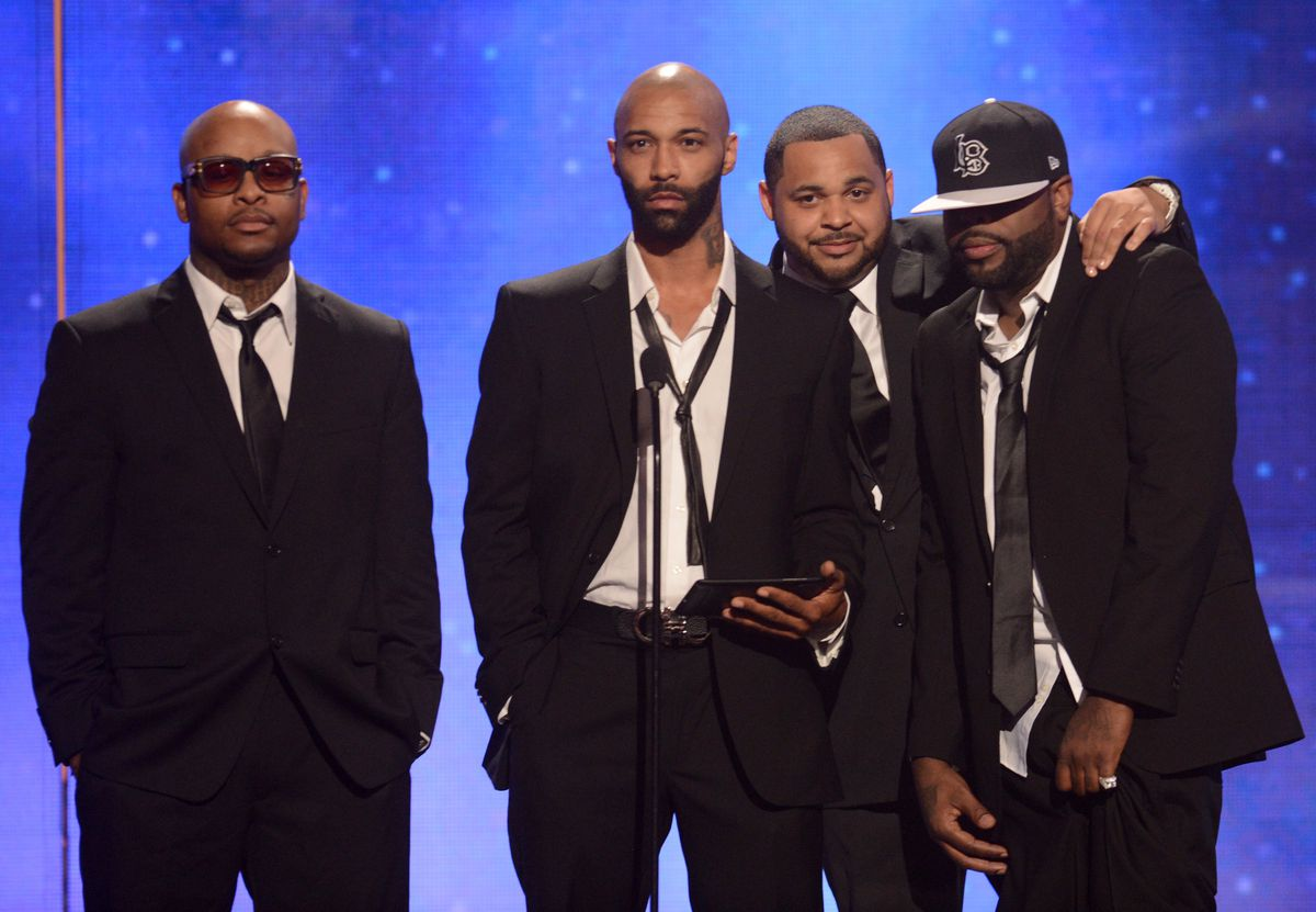 """Royce da 5'9"""", Budden, Joell Ortiz, and Crooked I of Slaughterhouse at the 2012 BET Awards (GettyImages)"""