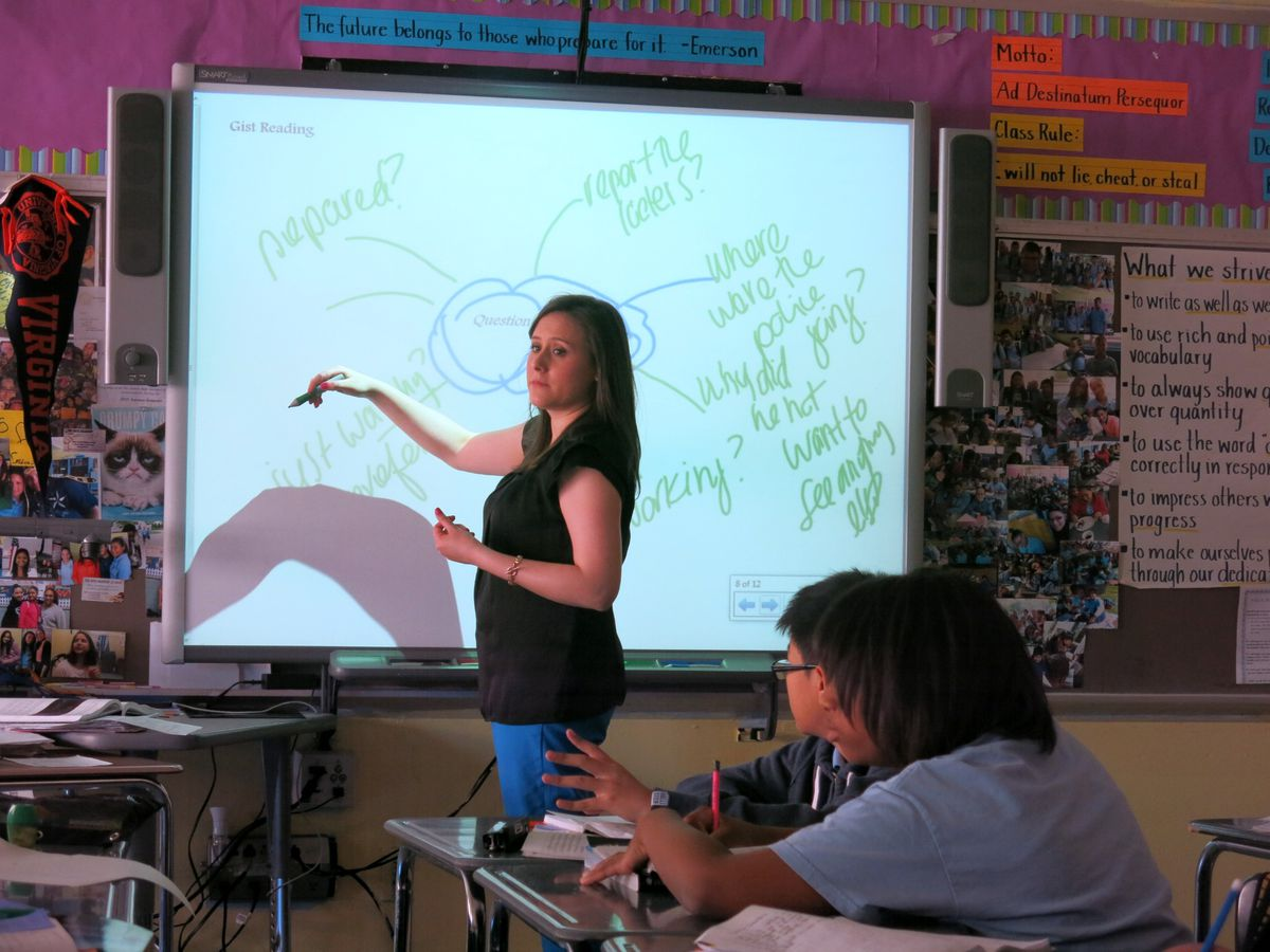 Miller modeled writing down questions that came to her as she read a poem.