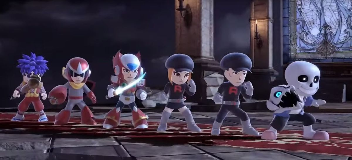 Several of the new Mii Fighter costumes, including two Team Rocket costumes and Sans' costume lined up