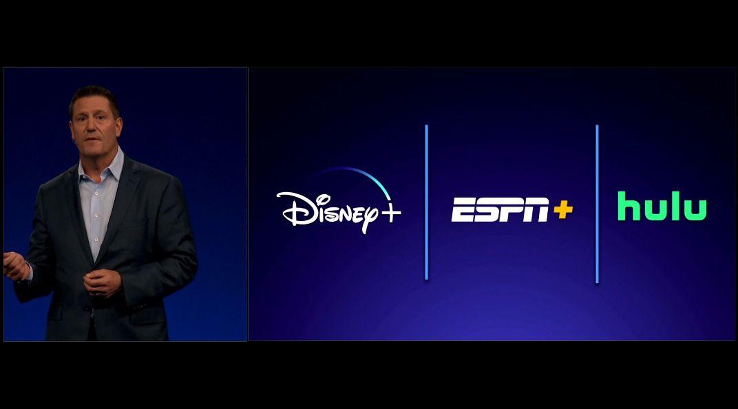 Icônes Disney Plus, ESPN Plus, Hulu sur fond bleu avec des lignes verticales entre eux
