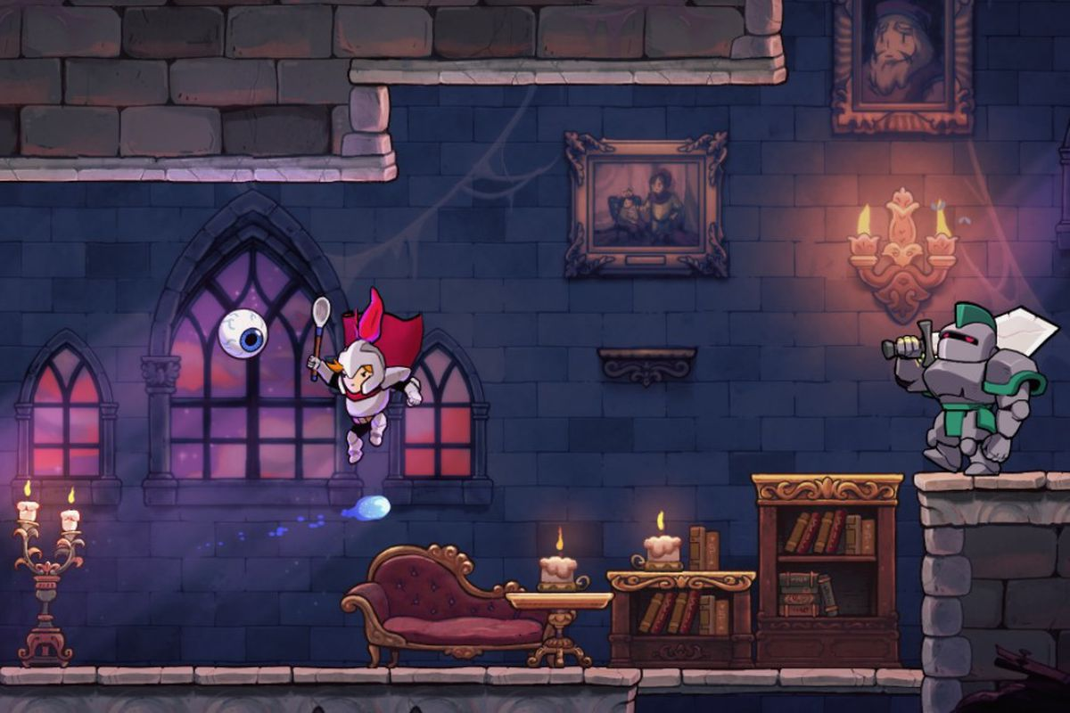A hero jumps in Rogue Legacy 2