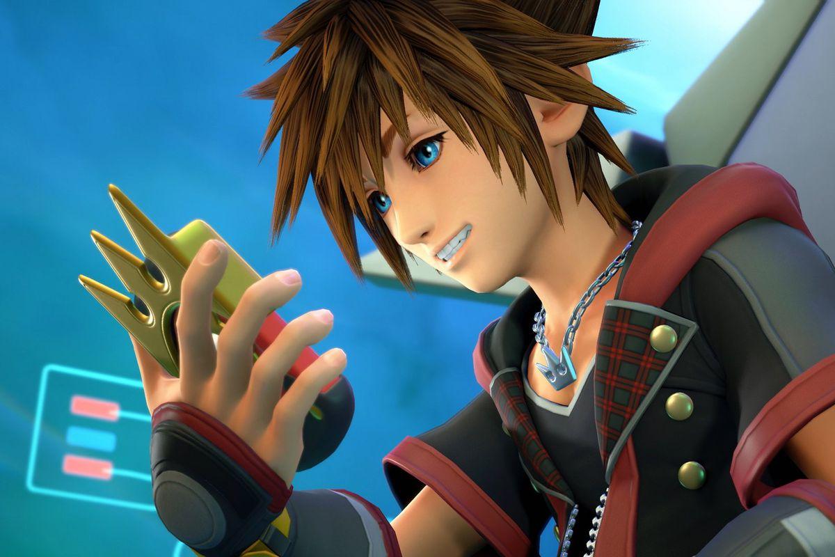 Sora looks at the Gummiphone in Kingdom Hearts 3