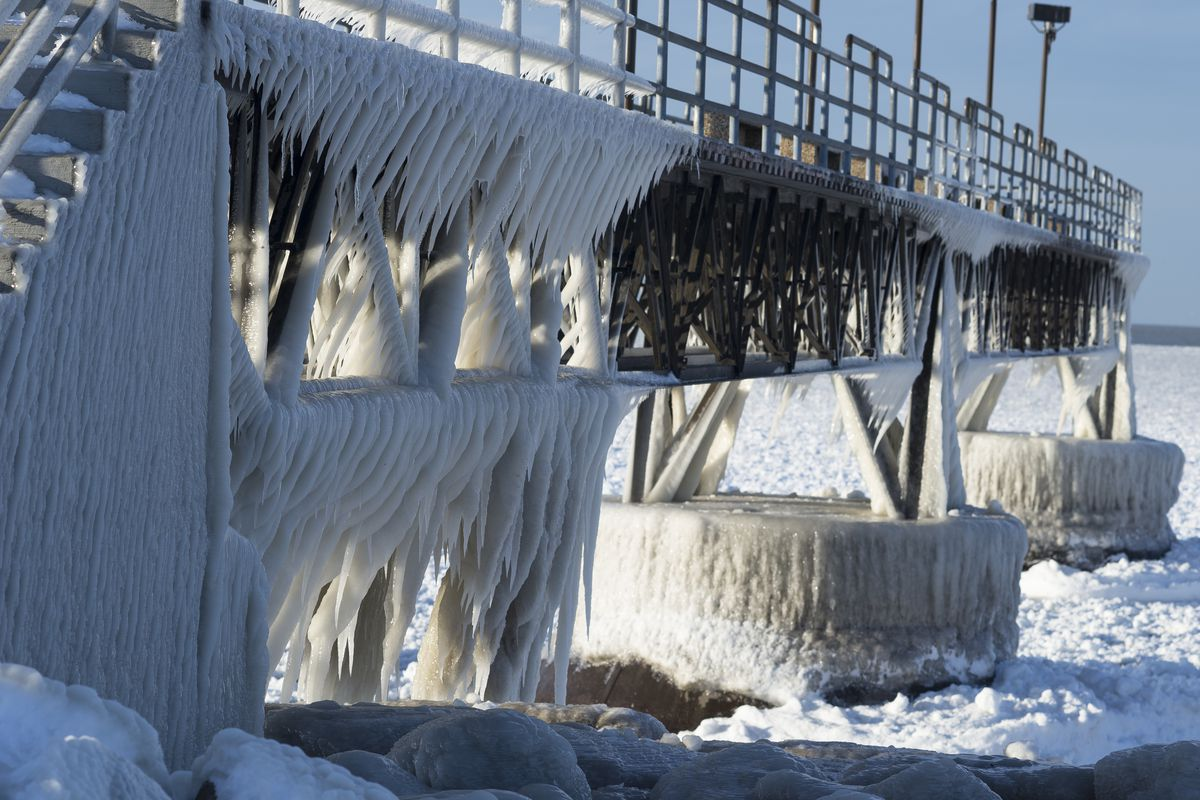 Ice Covered Pier on Lake Erie