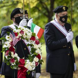 Members of the American Legion participate in a wreath laying ceremony during the Columbus Day: Italian American Heritage Celebration at Arrigo Park in the Little Italy neighborhood, Monday morning, Oct. 12, 2020.