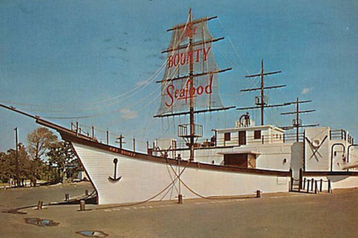 """Dallas' former seafood spot, <a href=""""http://dallas.eater.com/archives/2012/05/23/the-bounty-remembering-a-dallas-restaurant-in-ship-shape.php"""">The Bounty</a>."""