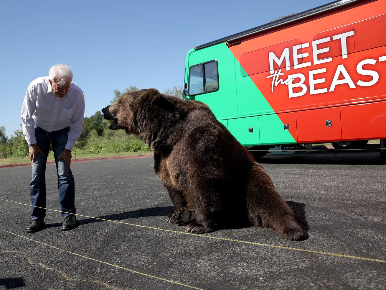 Republican California gubernatorial candidate John Cox greets a 1,000 pound bear at the start of a campaign rally at Miller Regional Park on May 04, 2021 in Sacramento, California.