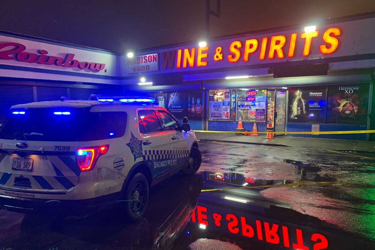 A man was shot and critically wounded by a security guard, Feb. 12, 2020, inside Madison Food, Wine and Spirits in Garfield Park.