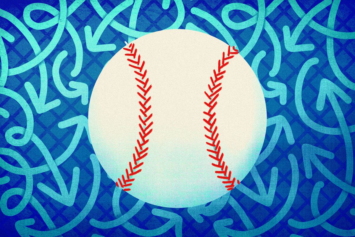 A baseball surrounded by arrows moving in different directions