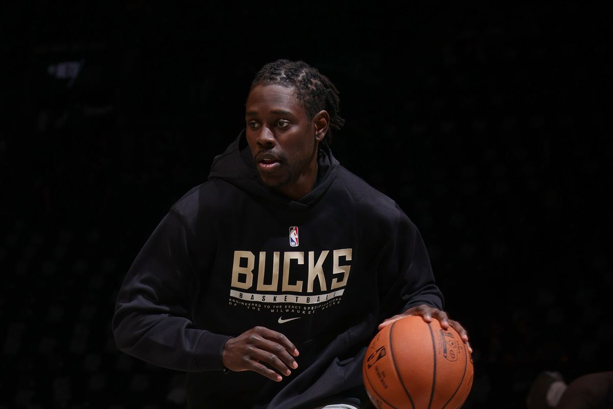 Jrue Holiday of the Milwaukee Bucks warms up before the game against the Brooklyn Nets during Round 2, Game 1 of the 2021 NBA Playoffs on June 5, 2021 at Barclays Center in Brooklyn, New York.