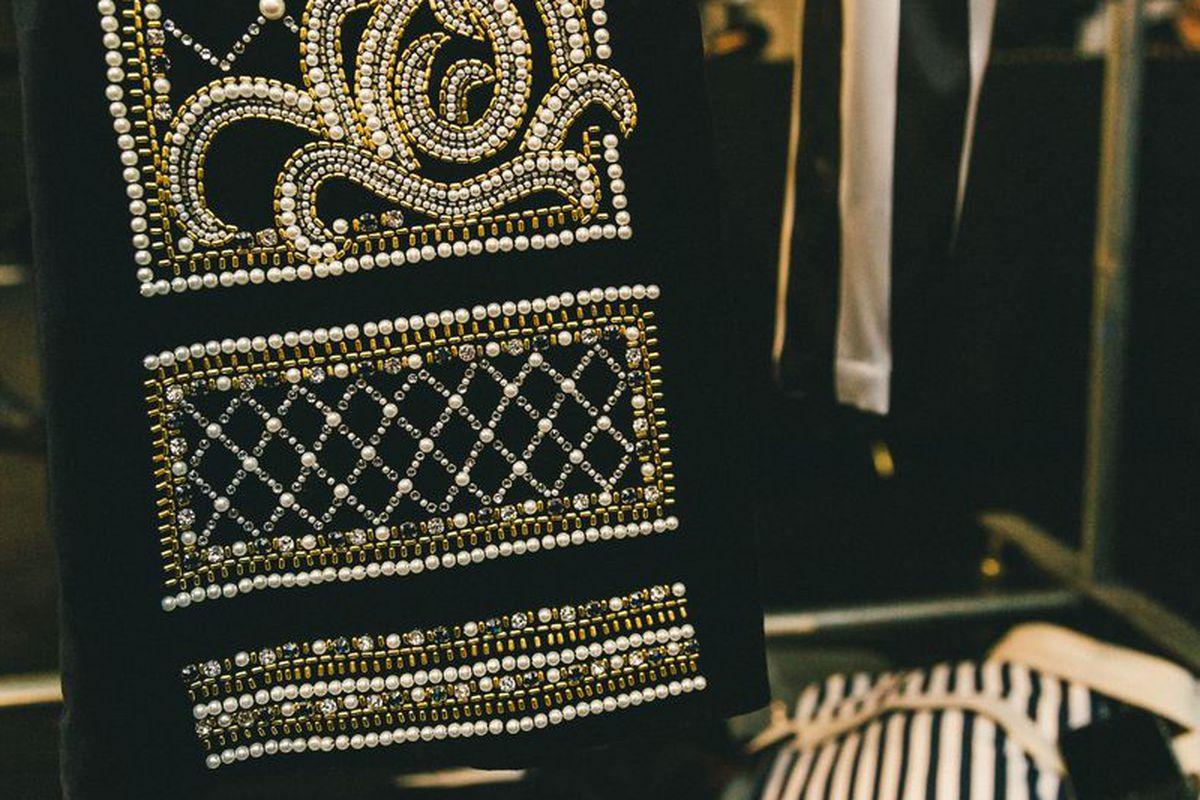 Up-close details at the H&M x Balmain runway show in October