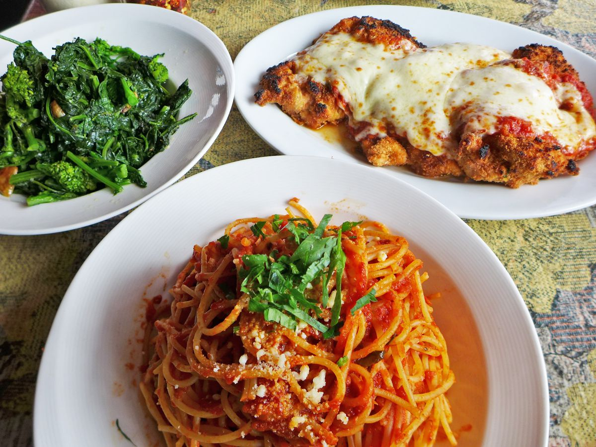 Broccoli rabe, spaghetti and meatballs, breaded veal cutlets