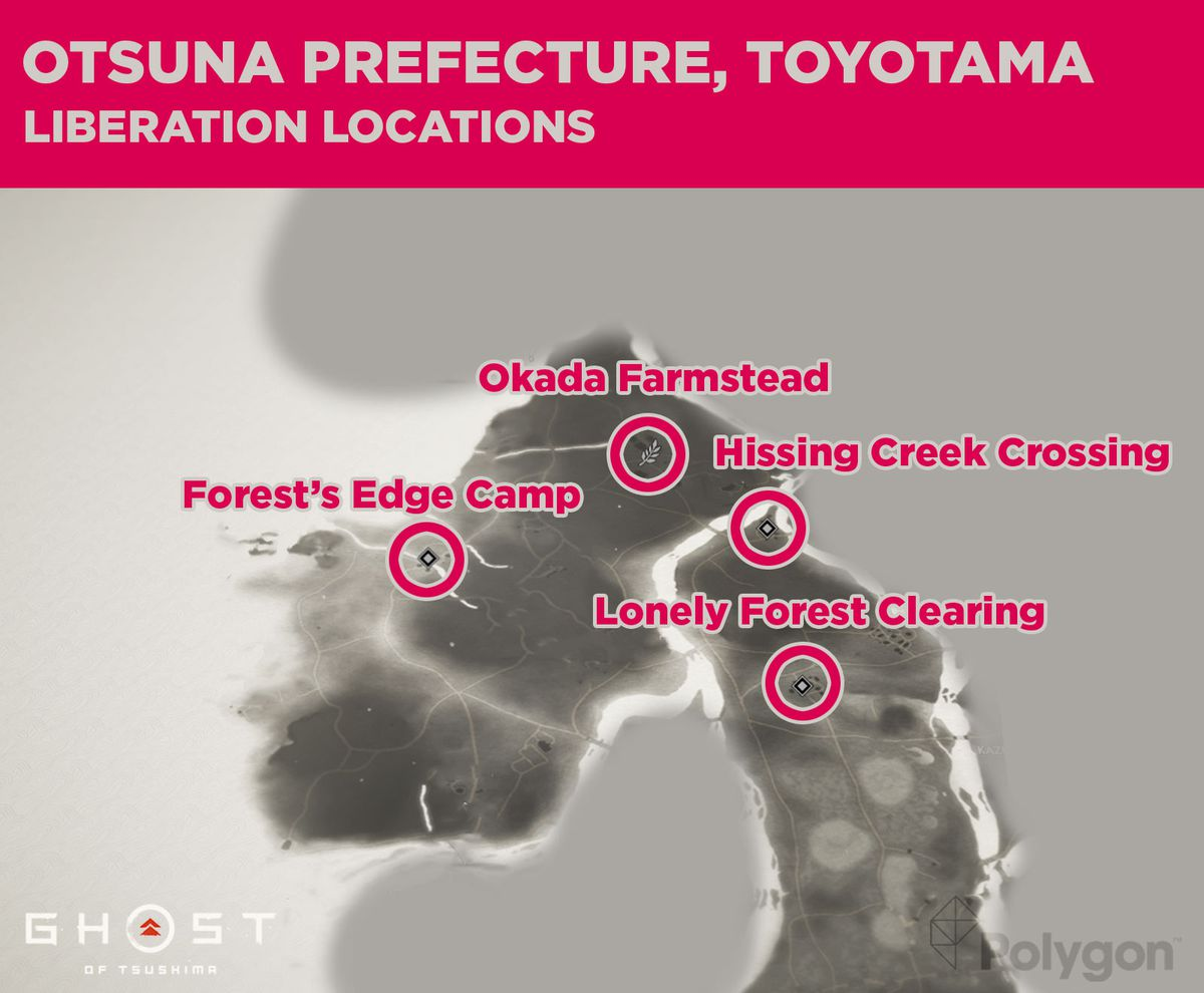 Otsuna liberation locations in Ghost of Tsushima including: Lonely Forest Clearing, Hissing Creek Crossing, Forest's Edge Camp, and Okada Farmstead.