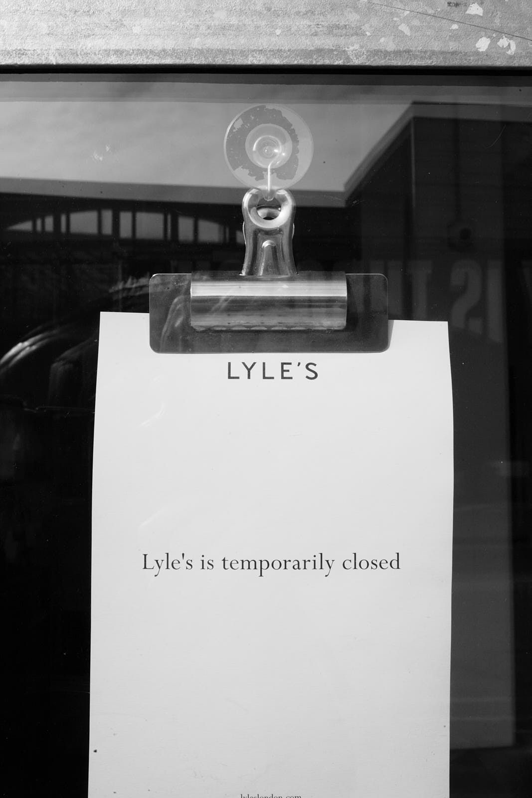 A closure notice on the door of Lyle's, the Michelin-starred restaurant in Shoreditch