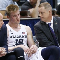 Brigham Young Cougars forward Eric Mika (12) looks out at the floor as BYU falls to the University of Texas at Arlington play in NIT basketball action at the Marriott Center in Provo, Utah on Wednesday, March 15, 2017.