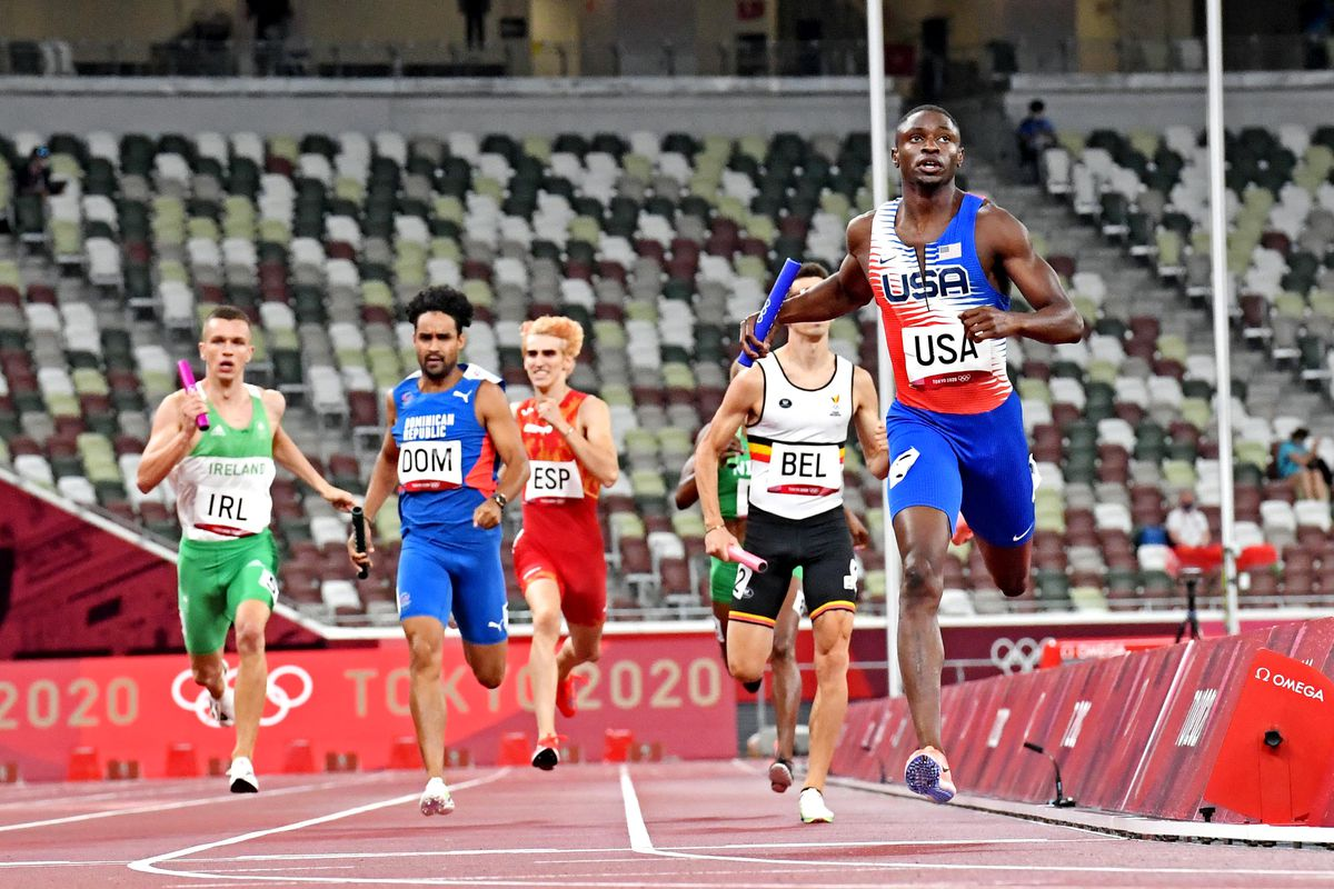 Bryce Deamon (USA) competes in the 4x400 relay mixed round 1 heat 1 during the Tokyo 2020 Olympic Summer Games at Olympic Stadium.