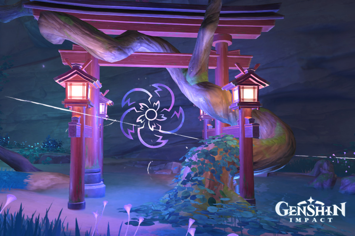 A Torii gate with an electric flower in the center of it in Genshin Impact