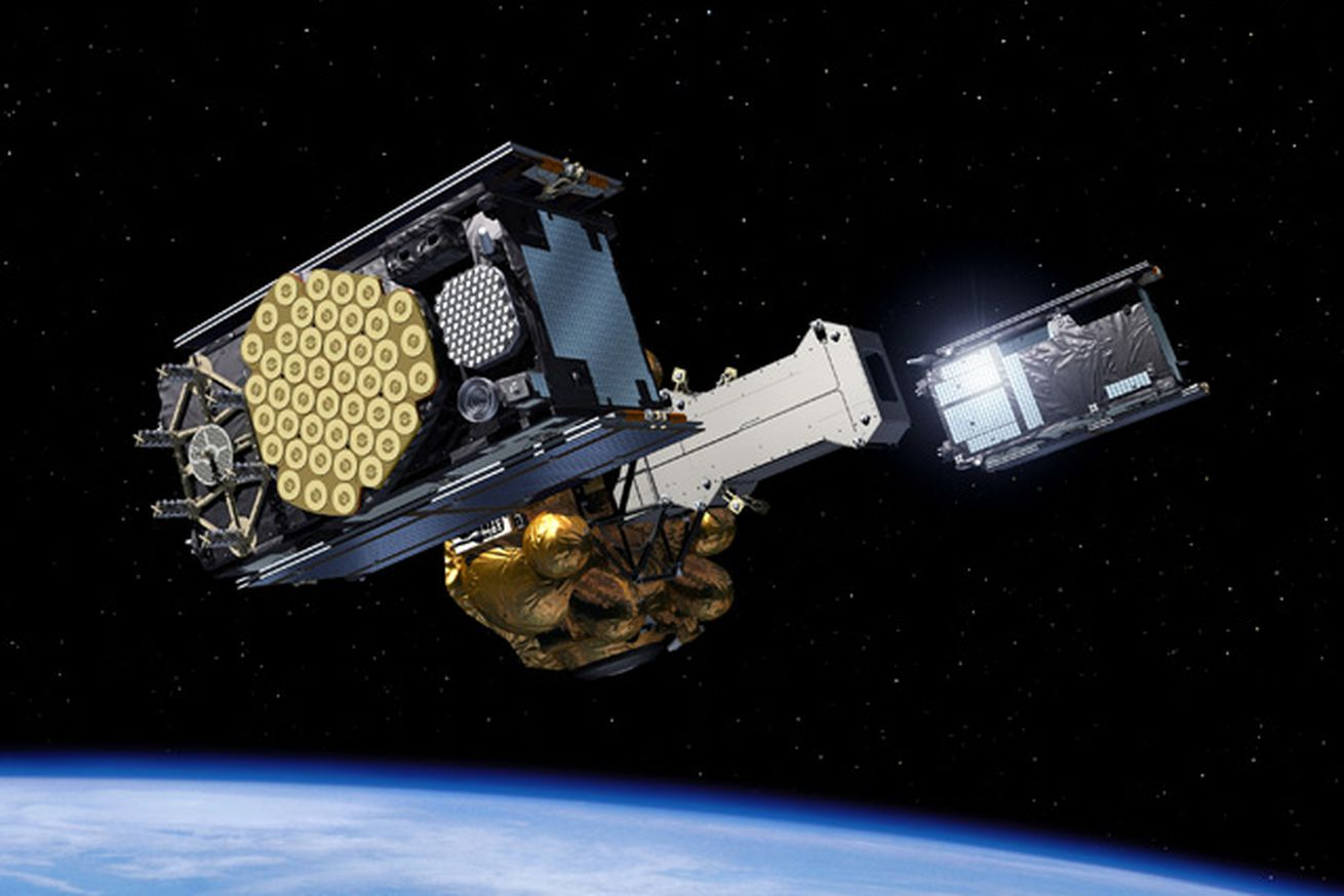 <em>An image render of one of the Galileo satellites, the first of which was launched in October 2011.</em>
