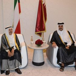 """In this Wednesday, June 7, 2017 photo released by Kuwait News Agency, KUNA, Kuwait's Emir Sheikh Sabah Al Ahmad Al Sabah, left, meets with Qatar's Emir Sheikh Tamim bin Hamad Al Thani in Doha, Qatar. Kuwait's emir traveled to Qatar to help mediate an end to a crisis that's seen Arab nations cut ties to the energy-rich nation home to a major U.S. military base, though Emirati officials warned there was """"nothing to negotiate."""""""
