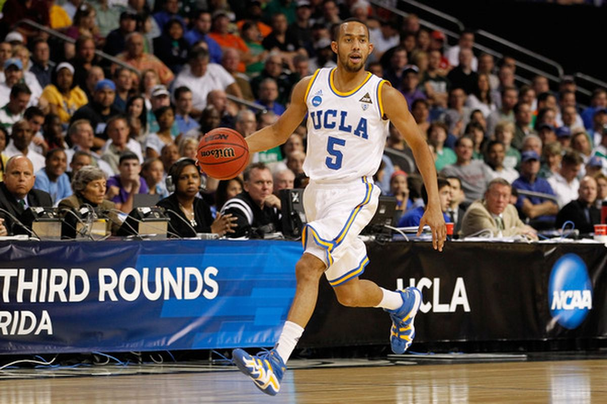 Jerime Anderson #5 of the UCLA Bruins  brings the ball up court for likely the last time against USC.  (Photo by J. Meric/Getty Images)