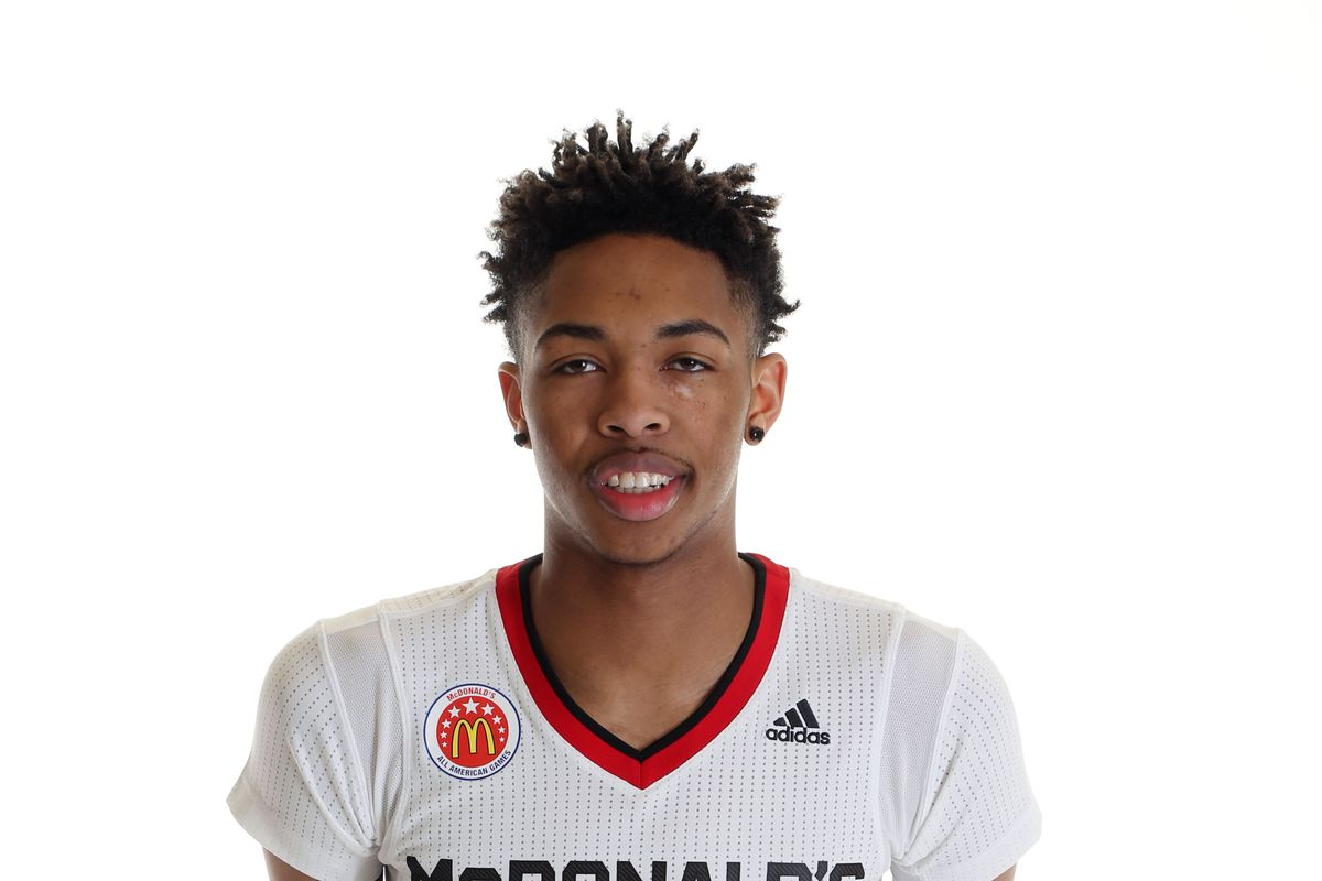 Mar 28, 2015; Chicago, IL, USA; McDonalds High School All American athlete Brandon X Ingram (13) poses for pictures during portrait day at the Westin Hotel.