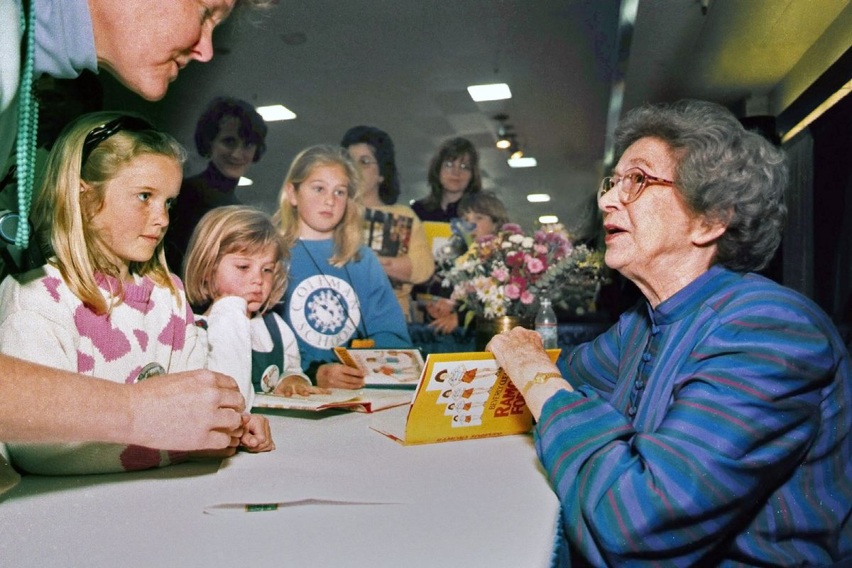 Beverly Cleary signs books at the Monterey Bay Book Festival in Monterey, Calif. on April 19, 1998. The beloved children's author, whose characters Ramona Quimby and Henry Huggins enthralled generations of youngsters, has died. She was 104. Cleary died in Carmel, California, her home since the 1960s, on Thursday, March 25, 2021. No cause of death was given.