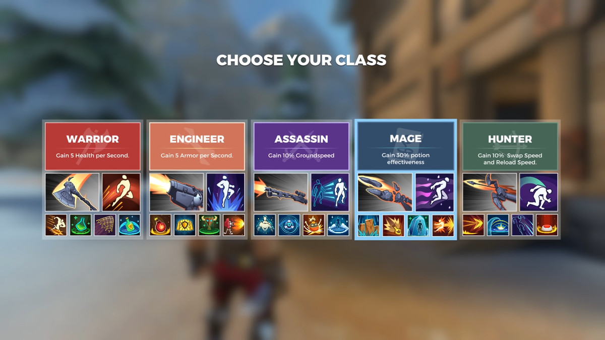 As cinco classes do Realm Royale