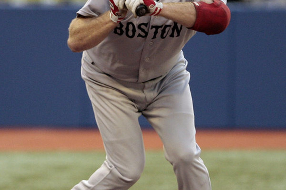 TORONTO, CANADA - SEPTEMBER 6:  Kevin Youkilis #20 of the Boston Red Sox dodges a pitch for a walk against the Toronto Blue Jays during MLB action at the Rogers Centre September 6, 2011 in Toronto, Ontario, Canada. (Photo by Abelimages/Getty Images)