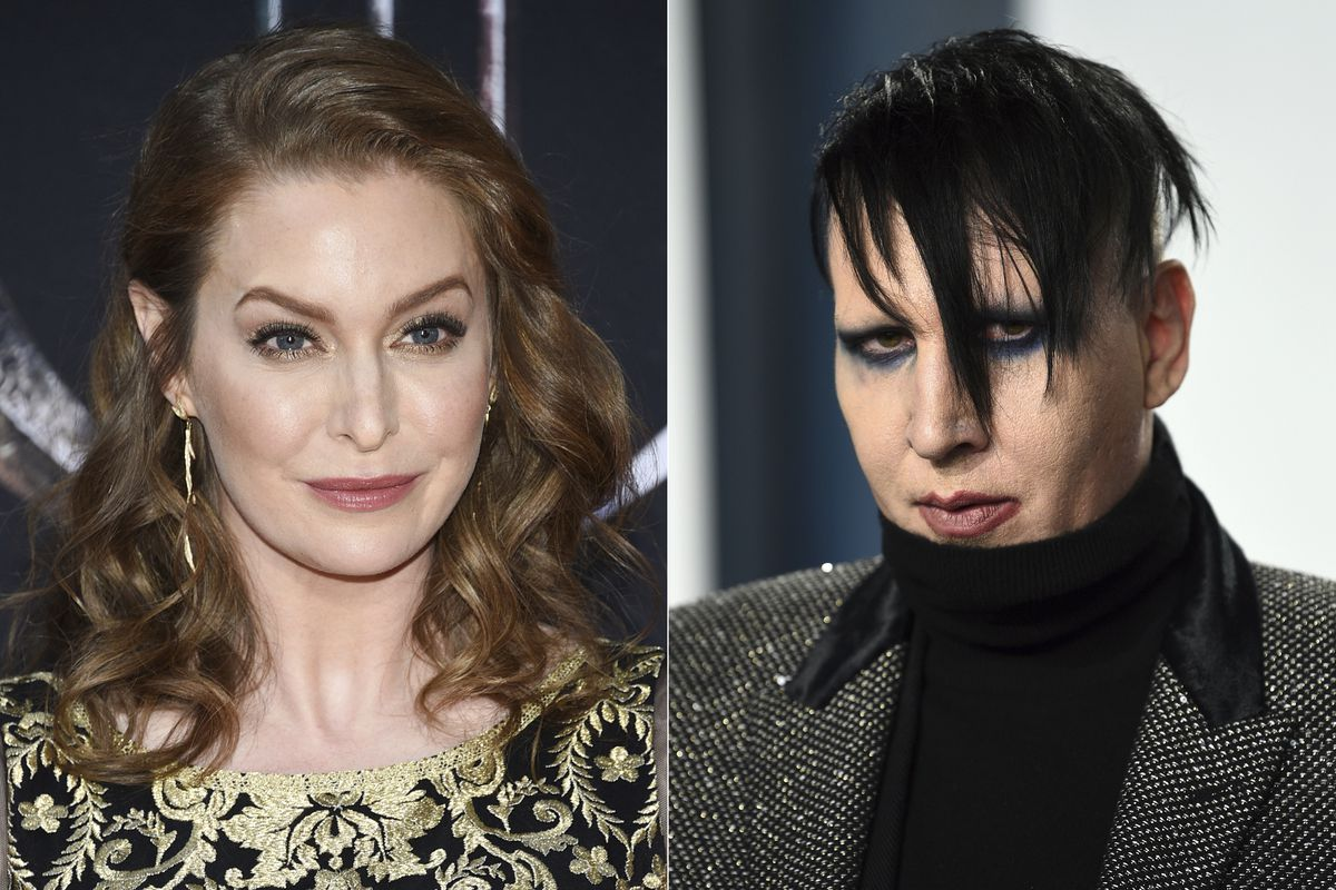 Esme Bianco (left) has sued Marilyn Manson (right) alleging sexual, physical and emotional abuse.