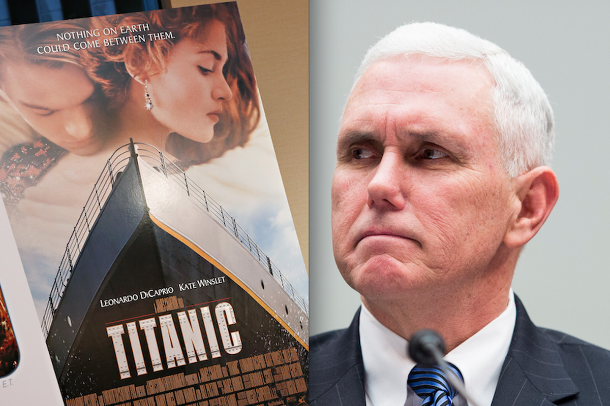 The Titanic movie poster and Indiana Governor Mike Pence.