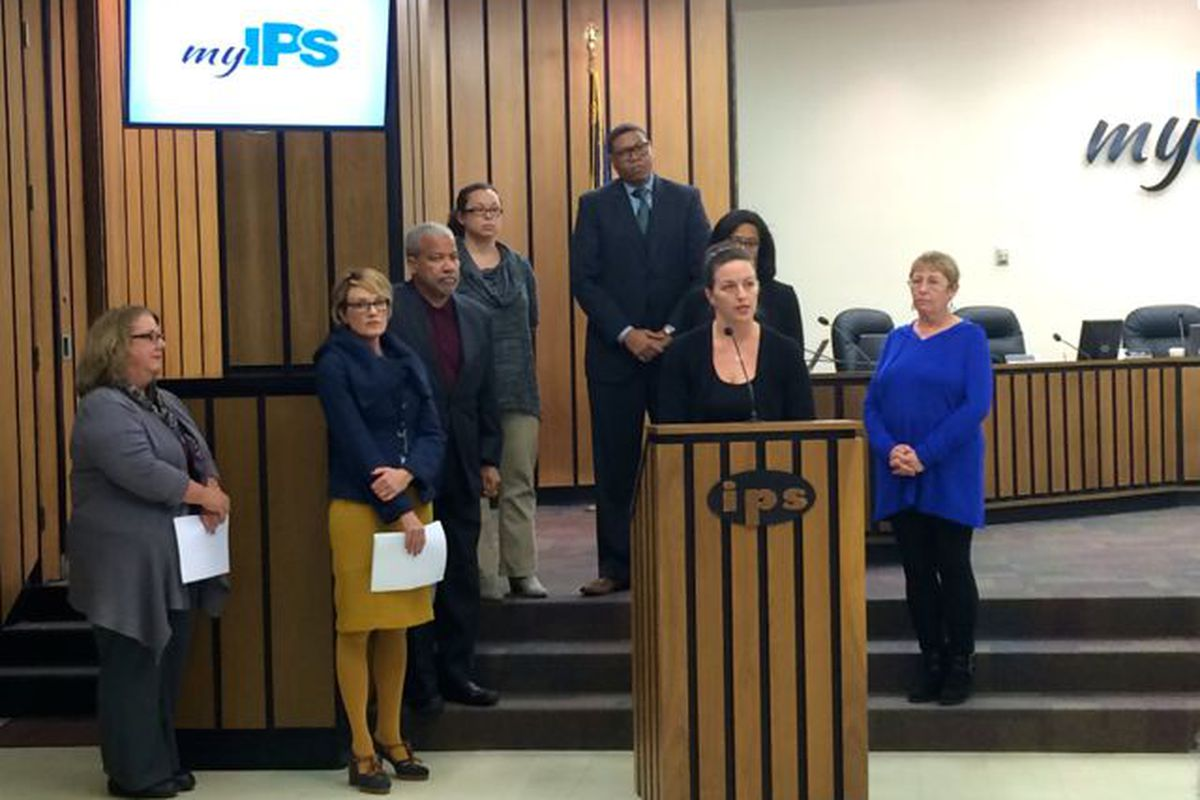 """The Indianapolis Public School Board held a press conference tonight to announce new """"core beliefs."""""""