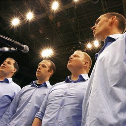 Hangtime — Adam Haggart, left, Brett Wilson, Dave McMullan and Kenny Wiser — auditions at EnergySolutions Arena. Winners will perform at the start of Jazz home games.