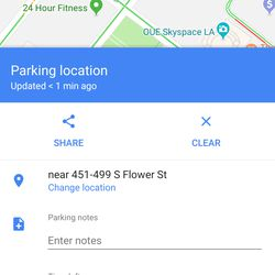 Swipe up to share your parking location, enter notes, or add other features.