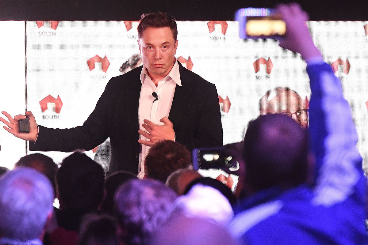 Elon Musk during his presenation at the  Tesla Powerpack Launch Event at Hornsdale Wind Farm on September 29, 2017, in Adelaide, Australia.