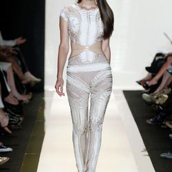 In this photo provided by Herve Leger, the Herve Leger Spring 2013 collection is modeled during Fashion Week in New York, Saturday, Sept. 8, 2012.