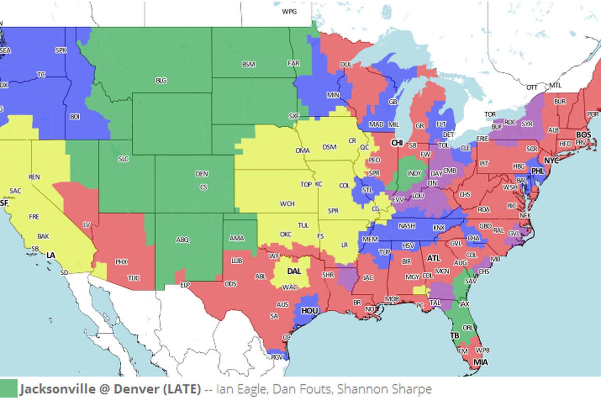 Tv broadcast map jacksonville jaguars vs denver broncos nfl week map courtesy of 506sports publicscrutiny Image collections