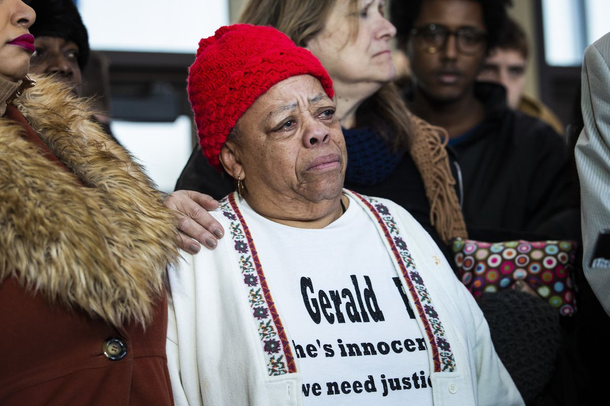 Flanked by supporters, Armanda Shackleford, mother of Gerald Reed, cries as she speaks to reporters at the Leighton Criminal Courthouse, Friday morning, Feb. 14, 2020. A Cook County judge overturned an order granting Reed a new trial for a 1990 double-murder.