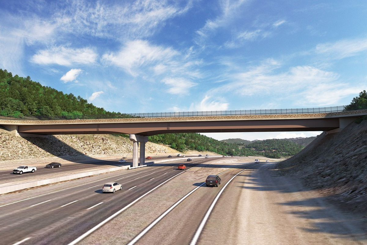 An artists rendering of the new wildlife overpass being constructed in Parleys Canyon