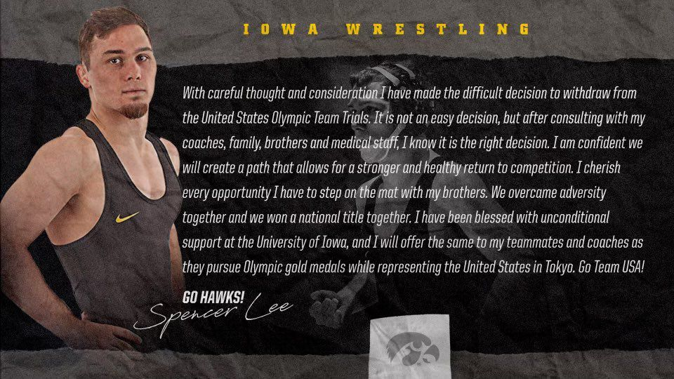 Spencer Lee withdraws Olympic Trials