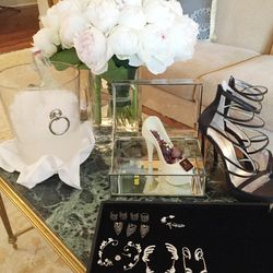 Our Stuart Weitzman shoe and accessories we narrowed down. We went with a Butani ear cuff, Borgioni studs and Noudar Rings.